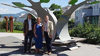 (v.l.n.r.) Umweltstadtrat Josef Sailer, GF umwelt service Salzburg Sabine Wolfsgruber und Vizebürgermeister Josef Rußegger