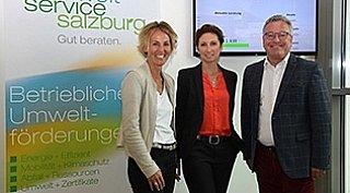 Beratertreffen GWS, v.l.: Sabine Wolfsgruber (GF umwelt service salzburg), Astrid Lamprechter (GF GWS), LH-Stv. Heinrich Schellhorn