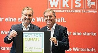 """""""Act for climate"""" lautet das Motto des neuen WKS-Schwerpunktes """"Klima+Wirtschaft"""". WKS-Präsident Manfred Rosenstatter und WKS-Direktor Manfred Pammer © WKS/Neumayr/Probst"""