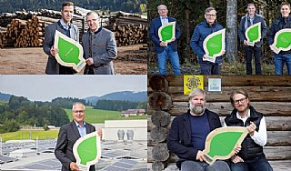 """Alle 4 """"umwelt blatt salzburg2020"""" Träger präsentieren stolz ihren Umweltpreis © uss/Neumayr"""